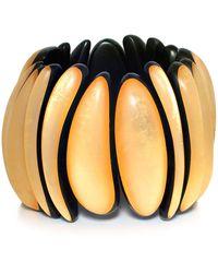 Monies | Ebony Gold Leaf Bracelet | Lyst