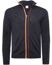 Paul Smith - Zip-through Merino Wool Artist Stripe Cardigan - Lyst