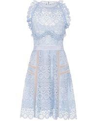 Self-Portrait - Circle Floral Lace Mini Dress - Lyst