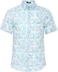 GANT - Regular Fit Leaf Print Short Sleeve Shirt - Lyst