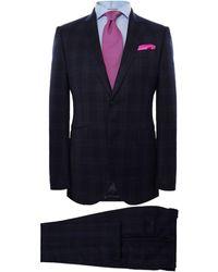 Hackett - Wool Tonal Flannel Check Suit - Lyst