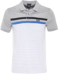 82079118a Boss Regular Fit Mercerised Cotton Paddy 3 Polo Shirt in Black for ...