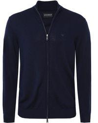 Armani - Virgin Wool Zip Cardigan - Lyst