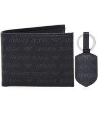 Armani Jeans Faux Leather Wallet Set - Black