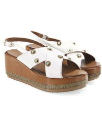 Inuovo - Slingback Studded Wedge Sandals - Lyst