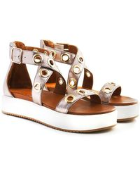 Inuovo - Eyelet Cross Ankle Wedged Sandals - Lyst