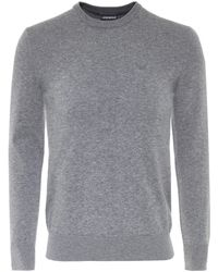 Armani - Knitted Cotton Crew Neck Jumper - Lyst
