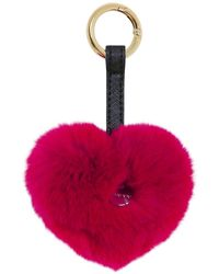 Yves Salomon Fur Heart Keyring - Pink