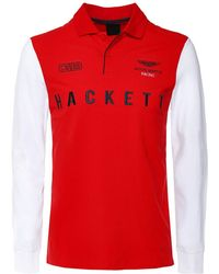 Hackett Long Sleeve AMR Wings Polo Shirt - Rouge