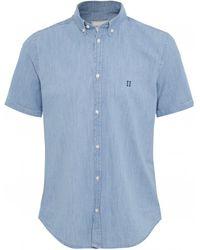 Les Deux Chambray Short Sleeve Vagrant Shirt - Bleu