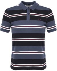 Fred Perry - Contrast Stripe Polo T Shirt Black - Lyst
