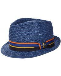 Stetson Raffia Straw Trilby Hat - Bleu