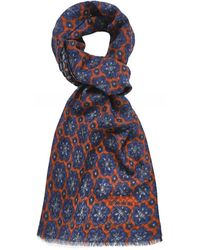 Stenstroms Wool Floral Scarf - Orange