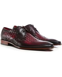 Jeffery West Woven Leather Wing-Tip Scarface Shoes - Rouge
