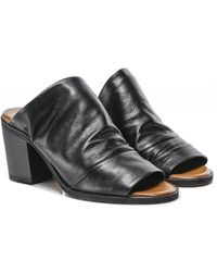 Inuovo Slouchy Leather Block Heel Mules - Noir
