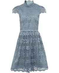 Alice + Olivia - Maureen High Neck Lace Dress - Lyst