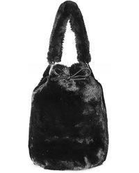 Stand Studio Scarlet Faux Fur Bucket Bag - Black
