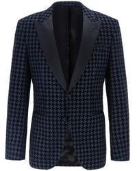 BOSS Slim Fit Houndstooth Helward4_1 Jacket - Bleu