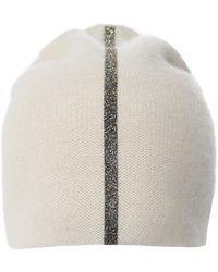 Warm-me Simplex Metallic Gold Stripe Cashmere Beanie - Neutre
