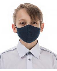 Grizas Children's Pack Of 3 Plain Linen Protective Face Masks - Blue