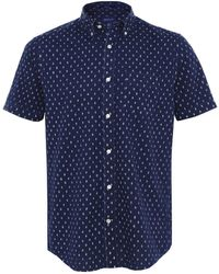 GANT Regular Fit Indigo Print Short Sleeve Shirt - Bleu