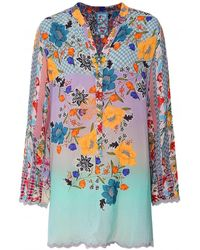 Johnny Was Janice Floral Tunic - Bleu
