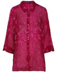 Grizas Silk Blend Sheer Floral Pattern Shirt - Pink