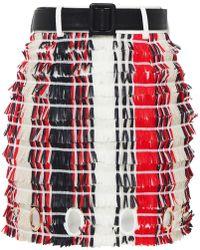 Self-Portrait Striped Fringe Skirt - Rouge