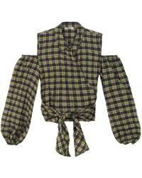 Ganni Charron Cold-shoulder Blouse - Green