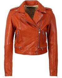 Oakwood Kyoto Leather Biker Jacket - Orange