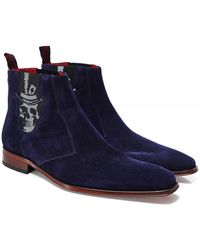 Jeffery West Suede Scarface Skull Chelsea Boots - Bleu