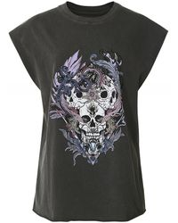Zadig & Voltaire Weny Compo Skull Strass Tank Top - Black