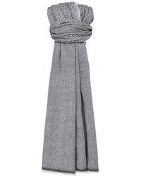 Jules B Herringbone Wool Scarf - Grey