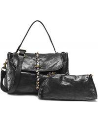 Campomaggi Medium Studded Leather Shoulder Bag - Noir
