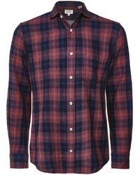 Hartford Regular Fit Flannel Check Paul Shirt - Red