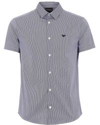 Armani Stretch Short Sleeve Striped Shirt