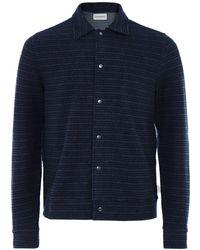 Oliver Spencer Textured Striped Rundell Jacket - Bleu