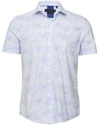 Guide London Short Sleeve Soft Flower Shirt - Bleu