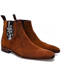 Jeffery West Suede Scarface Skull Chelsea Boots - Marron