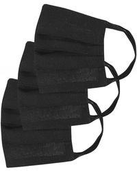 Grizas Pack Of 3 Plain Pleated Cotton Face Masks - Black