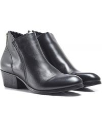 H by Hudson Apisi Leather Ankle Boots - Black
