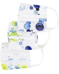 Grizas Pack of 3 Paint Splash Pleated Cotton Face Masks - Bleu