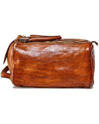Campomaggi Mock Croc Leather Wash Bag - Marron