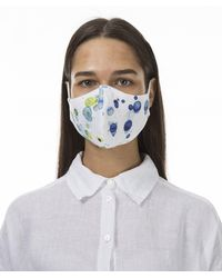 Grizas Pack Of 3 Patterned Linen Protective Face Masks - Blue