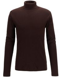 BOSS by Hugo Boss Slim Fit Cotton Roll Neck Tenore 06 Sweater - Brown