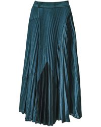 Vince Mixed Chevron Pleated Skirt - Green