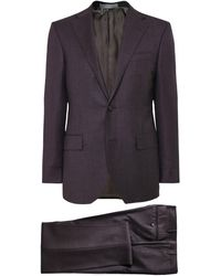 Corneliani Virgin Wool Birdseye Suit - Marron