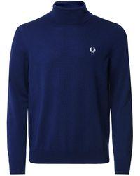 Fred Perry Wool Cotton Roll Neck Jumper K9552 - Bleu