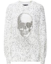 360cashmere Izzy Skull Front White Jumper