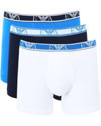 Armani Stretch Cotton Boxer Shorts Three Pack - Azul